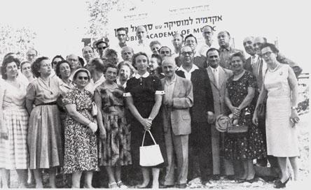 Cornerstone ceremony for the Rubin Academy in Smolenskin St., 1958