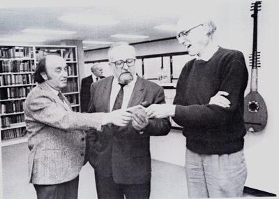 Kshishtov Penderetsky with Prof. Mark Kupitman and Claude Abarbanel, founder of the library